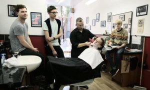 Alt-J getting shaved, August 2012
