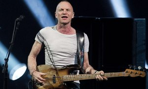 Sting on stage with bass in Copenhagen in 2012